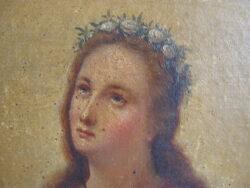 Olieverf op doek religieus schilderij Madonna met engelen