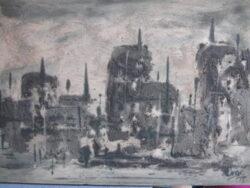 Vintage acryl verf schilderij gespoten abstract jaren 70
