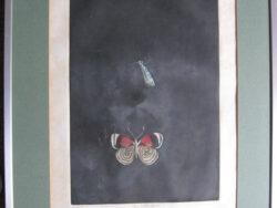 Tomoe Yokoi waterverf op rijstpapier. Titel Two Butterflies, XVII/XXV. Ingelijst en in goede conditie.