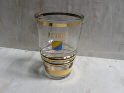 Art Deco vaas glas, blank glas met gouden randen en naam R.C. Jetta.