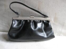 Vintage handtas, skai leer, zwart. In goede staat. Jaren 50-60.