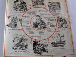Schoolplaat Ons land een koninkrijk 1815-1840, op linnen bedruk. In goede conditie. Nederlandse versie. Vintage schoolplaat.
