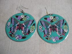 Vintage geëmailleerde oorbellen, vintage oorbellen, vintage sieraden