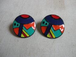 Vintage geëmailleerde oorbellen, vintage sieraden, Eve Kaplin sieraden, Memphis sieraden,