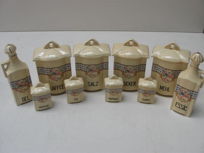 Vintage voorraadpotten set porselein