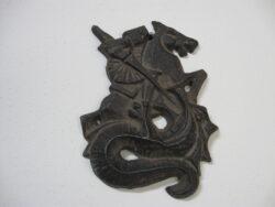 St. Joris en de draak wanddecoratie koper/brons metaal