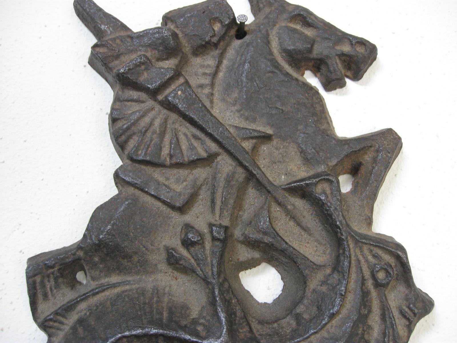 st joris en de draak wanddecoratie koperbrons metaal
