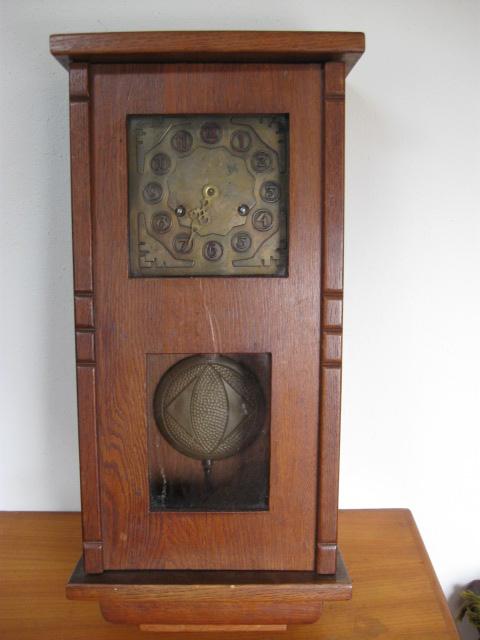 Amsterdams school klok eik hangklok jaren 20 - Landzicht Houtsberg