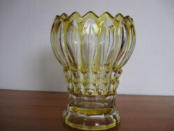 Persglas glazen vaas blank met gele accenten