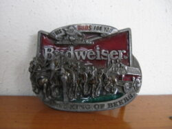 Budweiser Beer, Amerikaans metalen gesp riem, Trademark registered Anheuser Bush St. Louis Missouri, 1987. Goede staat.