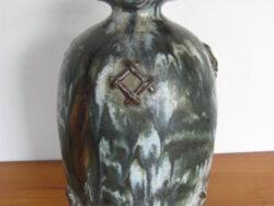 Guérin gres steengoed, stoneware vaas, Belgë. Gevlamd en met hengsel. Onbeschadigd.