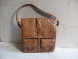 Slangenleren handtas, jaren 50-60. In goede staat.