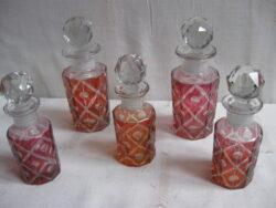 Val St. Lambert glas, Val St. Lambert parfumflesjes, Val St. Lambert glazen parfumflesjes, Val St. Lambert glass, Val St. Lambert geslepen glas, vintage glas, vintage glass