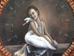 Modern art schilderij vrouw met zwaan A. Davids