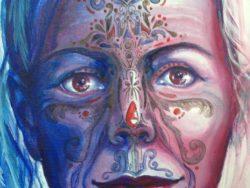 Modern art schilderij Feathers and Roses ovaal