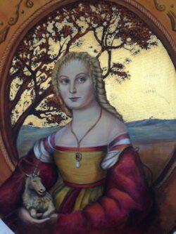 Modern art schilderij rond mythologische figuur met eenhoorn