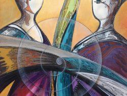 Modern art abstract schilderij 2 vrouwen