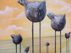 Modern art op doek fantasie vogels A. Davids