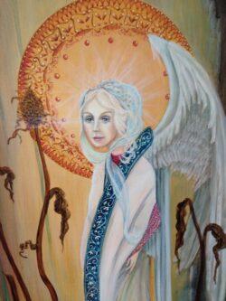 Modern art schilderij op hout fantasie figuur vrouw engel