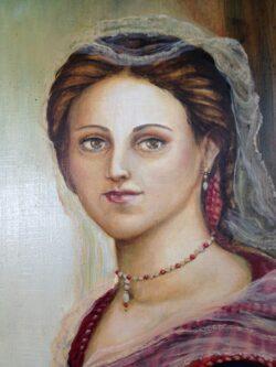 Modern art schilderij op hout middeleeuwse vrouw