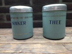Emaille voorraadbussen suiker thee