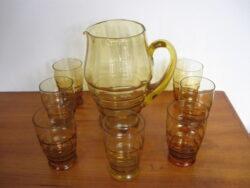 Vintage glas set met schenkkan